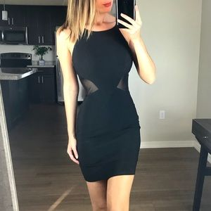 Eight Sixty Black Mesh Cut Out Dress Small